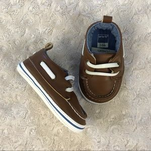 Carter's Boat Shoes Baby Boy Size 3-6 Months Brown